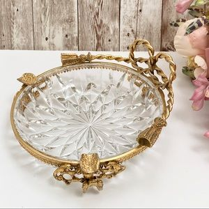 Vintage Gold Metal Footed Ashtray